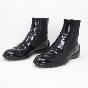 ea177b616cf TODS Black Leather Elastic Rain Ankle Boots 7.5